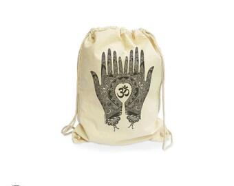 Mehndi hands yoga organic gymsack-om yoga gym sack-om gym sack-custom bag-henna bag-natural gymsack-boho gymsack-by NATURA PICTA NGS001