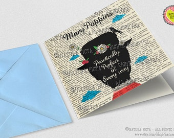 Mary Poppins Practically Perfect in Every Way Square Greeting Card with envelope- 5.67x5.67 inches - Design by NATURA PICTA NPSGC002