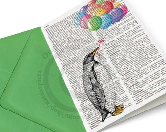 Funny Penguin holding balloons- funny animal card- anniversary card- zoo animal card- book art card-set of 3 cards- by NATURA PICTA