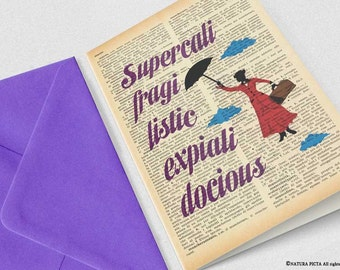 Supercalifragilisticexpialidocious Mary Poppins Greeting Card - 4x6 inches - Invitation card- Stationery card-design by NATURA PICTA NPGC010