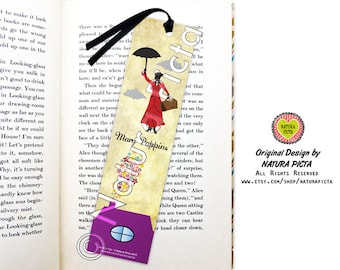 Mary Poppins bookmark-Mary Poppins practically perfect bookmark-Quote bookmark-Bookmark silhouette-fairy tale-by NATURA PICTA BKMK007