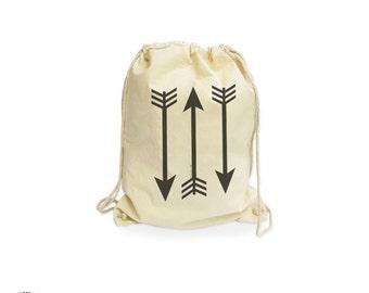 Tribal arrows organic gymsack-arrows bag-sporty gym sack-arrows bag-boho gymsack-gym sack-school bag-drawstring backpack-NATURA PICTA NGS004