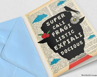 Supercalifragilisticexpialidocious Mary Poppins Card-funny card-quote card-note card-custom card-set of 3 cards-blank card-card-NPGC103