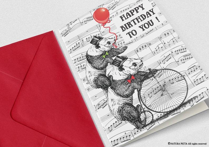 Panda Bears Birthday Card Funny Animal