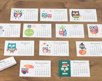 2021 Owls mini desk calendar- funny calendar - calendar 2.2x3.5 in- personalized calendar- custom calendar - back to school -by NATURA PICTA