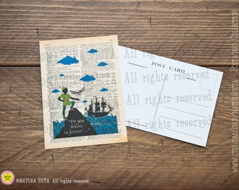 Peter Pan Do you Believe Postcard-Invitation card-Note card- Thank you card- Stationery card-4x6 inches - design by Natura Picta