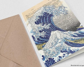 The great wave off Kanagawa Card-greeting card-handmade card-coastal card-4x6 card-book art card-wedding card-ocean card-NATURAPICTA-NPGC106