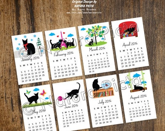 Funny cats mini desk calendar 2018-desk calendar 2018-Cats calendar-Back to school-Business Cats calendar-Teacher gift-by NATURA PICTA