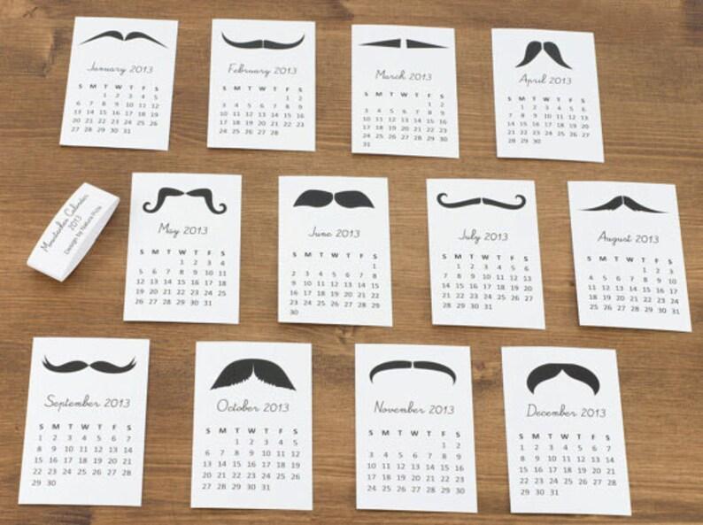 2021 Mustaches Mini Calendar Mustaches desk calendar image 0