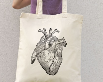 Anatomical  heart tote bag-vintage heart tote bag-heart bag-science tote-personalized tote-shopping bag-steampunk tote-NATURA PICTA NPTB020