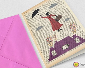 Mary Poppins Greeting Card-custom card-Inviatation-blank card-set of 3 card-poppins invitation-handmade card-funny card-by NATURA PICTA