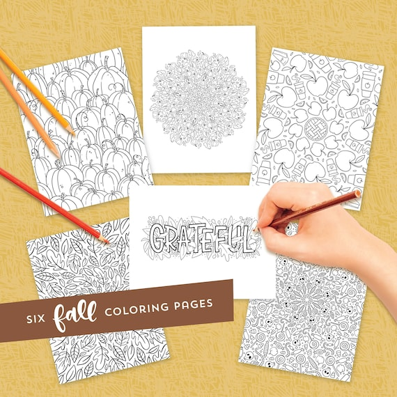 Fall coloring pages  Coloring book for adults  Coloring