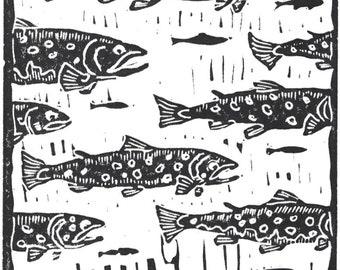 19 Browns - Flyfishing trout artwork original linocut by Jonathan Marquardt