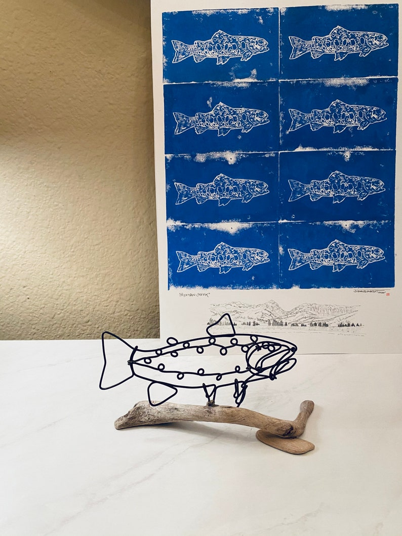 Original linocut trout fly-fishing Montana artwork by Jonathan Marquardt Bozeman Creek