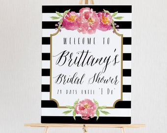 Bridal Shower Welcome Sign Template, Editable Wedding Shower Poster, INSTANT DOWNLOAD, # of Days Until I Do Sign, 18x24, 24x36, #011-17