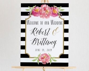 Wedding Welcome Sign Template, 100% Editable Template, Welcome Poster, INSTANT DOWNLOAD, Black & White Stripe Floral, 18x24, 24x36, #011-10