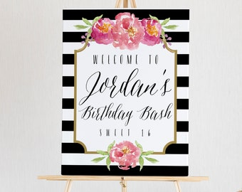 Birthday Welcome Sign Printable, Birthday Sign Template, Birthday Sign Board, INSTANT DOWNLOAD, Black White Stripe, 18x24, 24x36, #011-18