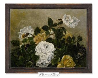 Flower Still Life Painting | Moody Flower Painting | Vintage Botanical Print | PRINTABLE Wall Art | 101