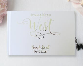 Wedding Guest Book, Silver Foil Guest Book, Custom Guest Book, Silver Guest Book, Polaroid Guest Book, Real Foil Guestbook, Choice of Foil