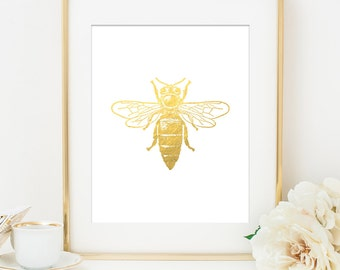 Bumble Bee Faux Gold Foil Art Print   White U0026 Gold   Gold Office Decor    Imitation Gold Leaf   Girl Room Decor, Home Office Wall Art