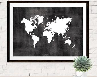 Chalkboard world map etsy world map print poster chalkboard style background world map art travel print poster black and white map print travel decor wall art gumiabroncs Image collections