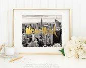 New York City Print, Manhattan Skyline, New York City Skyline, Travel Print Poster, New York Art Print, Gold Wall Art, Faux Gold Foil