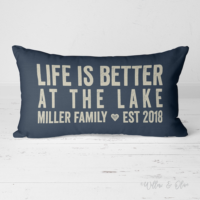 Life is better at the lake - customized pillow on Etsy. Willow & Olive.