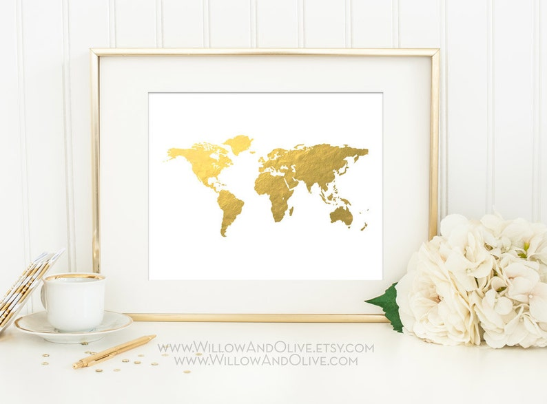 Travel Decor Gold World Map Gold Map Art Home Office Wall Art White /& Gold Minimalist Art WORLD MAP Faux Gold Foil Art Print