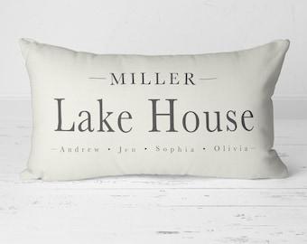 Lake House Decor, Name Pillow, Personalize Pillow, Lake House Gift, Cabin Pillow, Lake House Pillow, Rustic Pillow, Lake Decor 20-006A