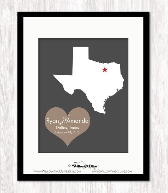Texas Wedding Gift Unique Wedding Gift For Couple State Map Etsy