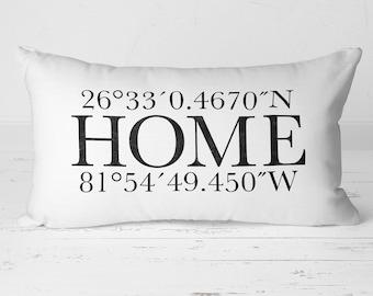 Latitude Longitude Pillow, GPS Coordinates Pillow, Home Pillow, Realtor Closing Gift, Housewarming Gift, New Home Gift, Throw Pillow, 20-001
