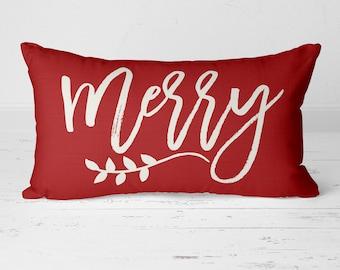 Christmas Pillow, Merry Pillow, Merry Christmas, Holiday Pillow, Winter Pillow, Holiday Decor, Lumbar Pillow, Calligraphy Pillow 20-024