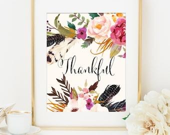 Thankful Print, Unique Gift Idea for Her, Gift for Mom, Home Office Decor, Feathers Flowers Tribal Print, Tribal Wall Art, Fall Home Decor