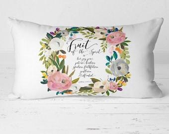 Fruit of the Spirit Pillow, Fruits of the Spirit, Lumbar Pillow, Farmhouse Pillow, Floral Pillow, Bible Verse Pillow, Pillow Cover, 20-007