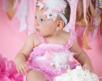 Pink and Gold First Birthday Girl - Pink and Gold First Birthday Headband - 1st Birthday Bow -  Pink and Gold Headband