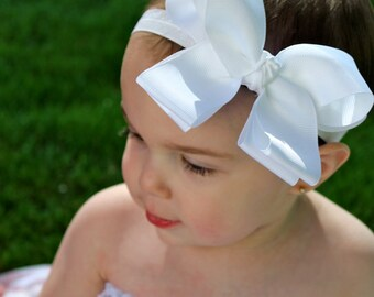 Baby Headband, White Baby Headband, Bow Baby Headband, Baby Headbands