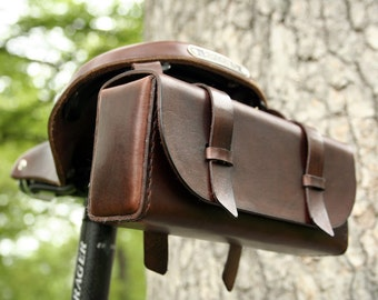 Leather Bike Tool Bag - Dark Brown