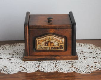 Vintage Wood Recipe Box with Recipes Acrylic Seed Front