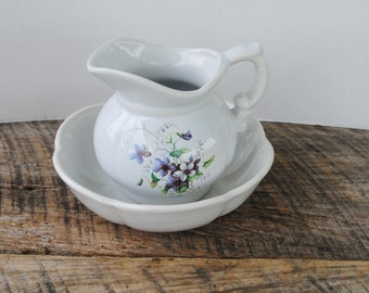 Vintage McCoy Pottery Bowl and Pitcher Set Floral Pansy Pattern