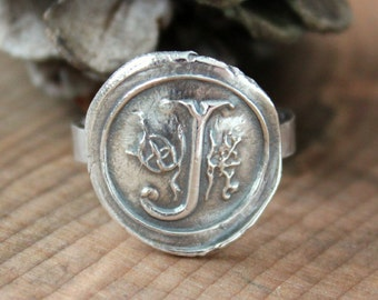 Custom Wax Seal Monogram Ring Precious Silver Initial Vintage Womans Gift Statement RingHand Pressed Raw And Rustic