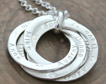 Personalized Family Necklace, Custom Ring Necklace, Intertwined Rings, Sterling Silver Family Necklace, 2 or 3 Rings - Bianca Necklace