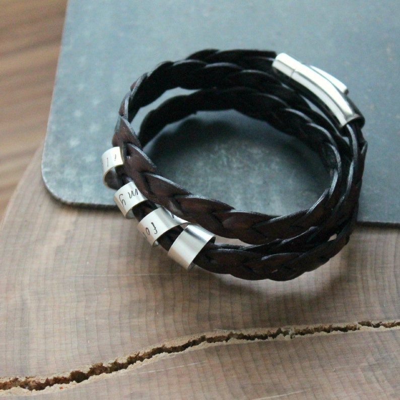 Personalized Bracelet Thick Braided Wrap Leather And Silver Secret Spinning Message Sterling Silver Custom Bracelet