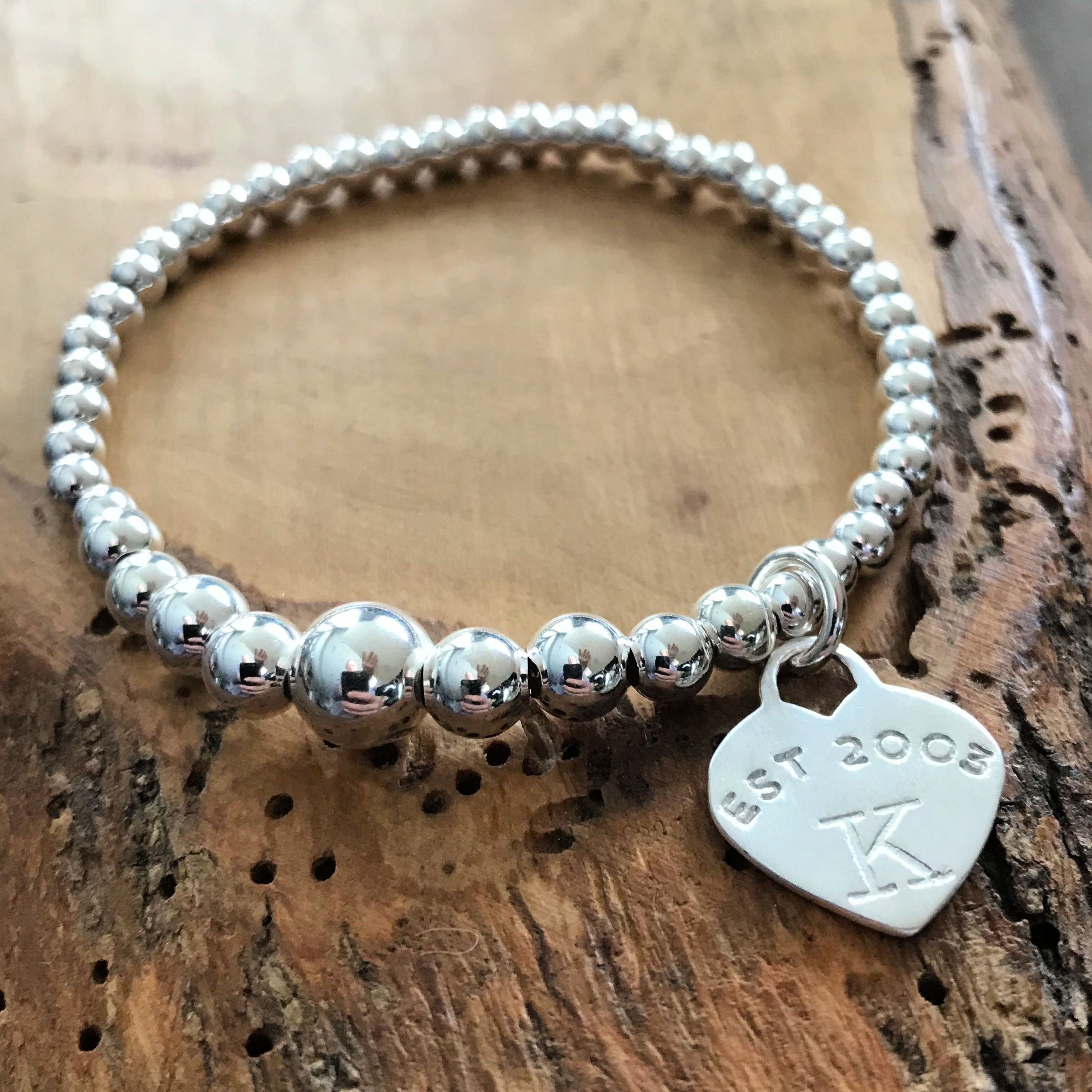 Real Sterling Silver Beaded Bracelet Engraved Heart Charm with engraving