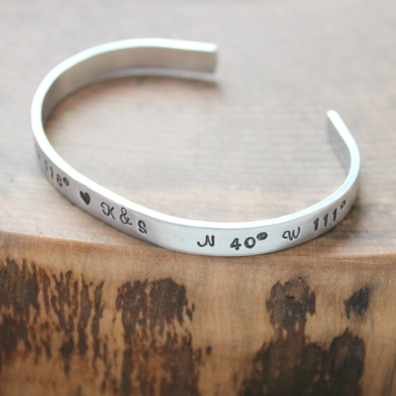 c7482fd290f Personalized Skinny Cuff Hand Stamped Personalized Message | Etsy