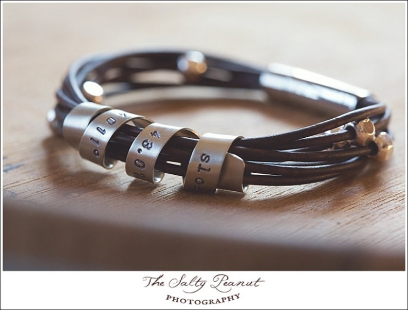 Unisex Design The Lee Bracelet Hand Stamped With Custom Spinning Message Silver and Leather Bracelet Personalized Leather Bracelet