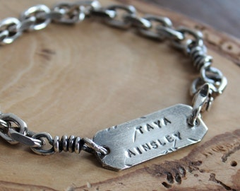 Men's Personalized Silver Bracelet, Men's Custom Rugged Bracelet, Modern Rustic Men's, Fine Silver Name Bracelet, Men's Gift- Ethan Bracelet