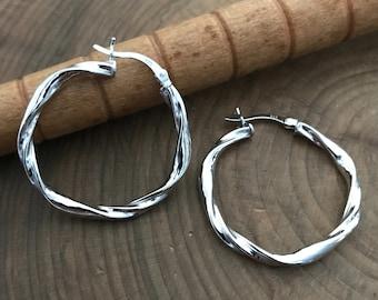 Sterling Silver Large Twisted Hoop Earrings - Large Twist Earrings