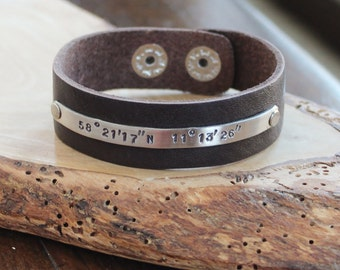 Custom Logitude and Latitude Leather & Silver Cuff Bracelet - Men's or Woman's Style