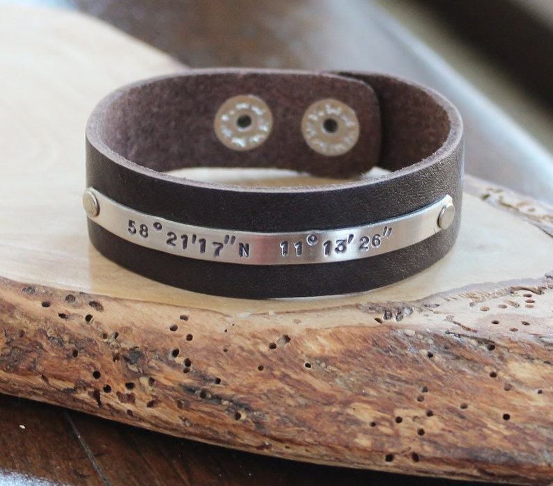 4db08c7c006b6 Men's Custom Cuff, Longitude and Latitude Leather & Silver Cuff Bracelet,  Custom Message Cuff, Boyfriend Gift, Men's or Woman's Coordinates