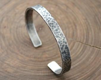 Men's Personalized Silver Cuff Bracelet - Ed Bracelet